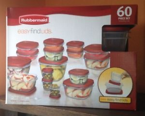 60 pc NIB Rubbermaid Food Storage Containers Easy Find Lids 1W06 Microwave safe