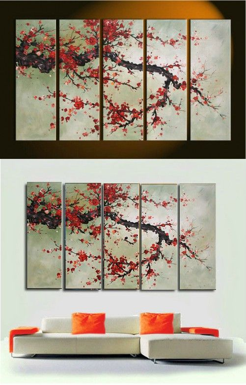 Hand made 5 Pieces Cherry Blossom Painting Abstract red Flower Oil Canvas Wall Art Picture Modern Home Decoration paint Set $58.8