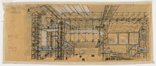 Cedric Price. Fun Palace for Joan Littlewood Project, Stratford East, London, England, Perspective. 1959-61