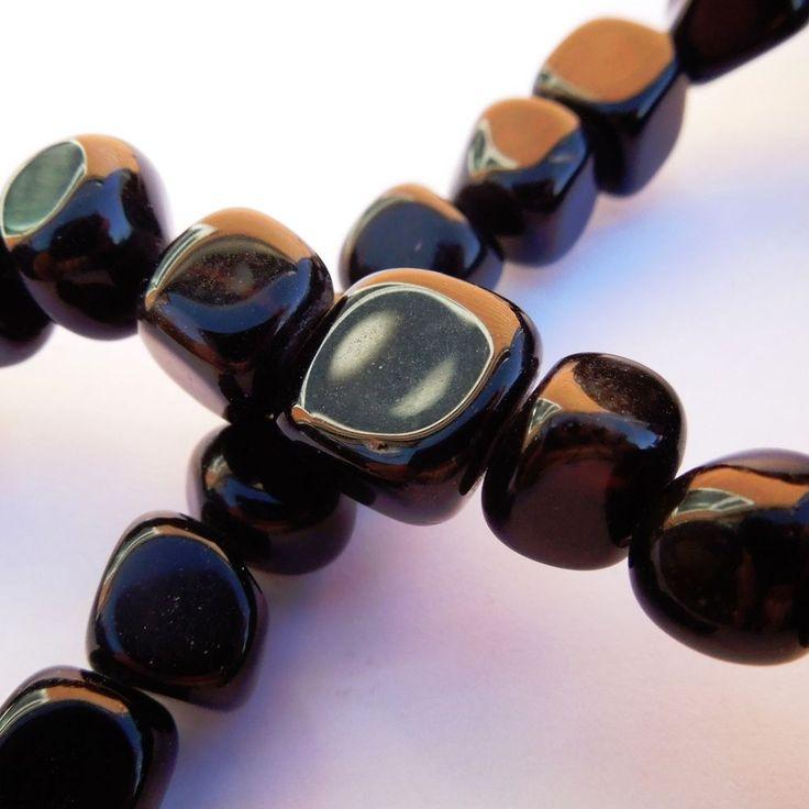 15in Black Agate Semi Precious Gemstone Jewellery Making Nugget Beads 8 - 11 mm