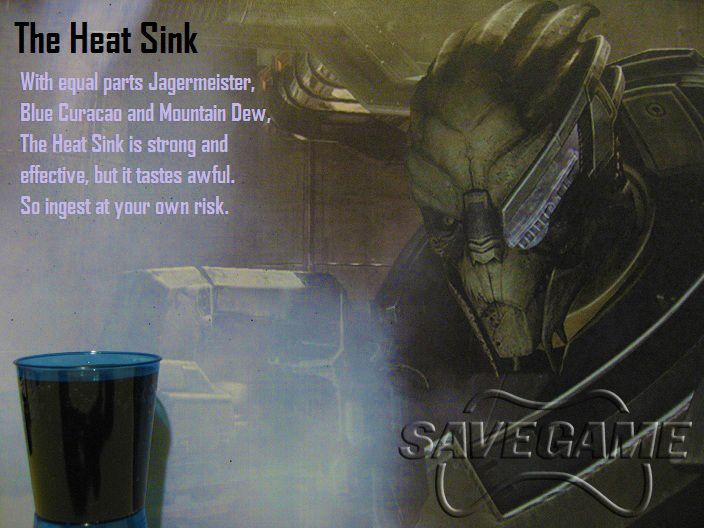 Mass Effect Cocktails - Garrus (this sounds so gross but may have to try it anyway)