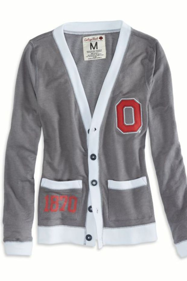 AEO Women's Ohio Vintage Varsity Cardigan (Grey)
