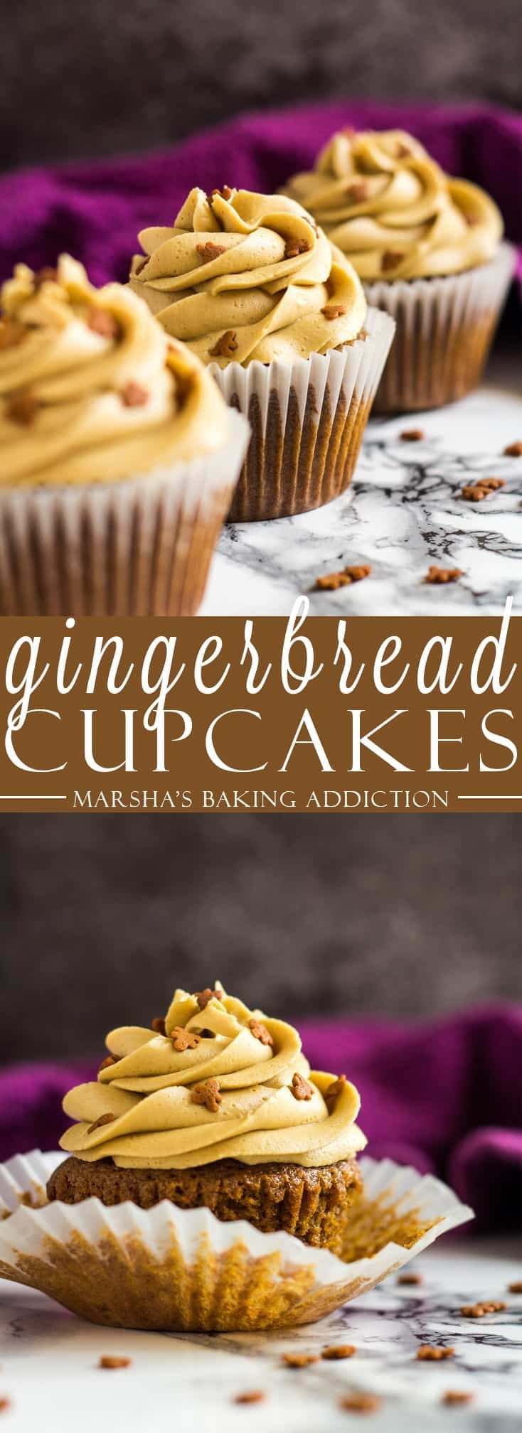Gingerbread Cupcakes - Deliciously moist and fluffy gingerbread cupcakes that are loaded with flavour, and topped with a ginger buttercream frosting! Recipe on marshasbakingaddiction.com #ginger #gingerbread #cupcakes #christmas