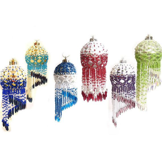 PDF Tutorial Fringed Beaded Christmas Bauble Pattern by CTBeading