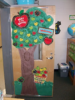 Great door idea for Back-to-School! They used CTP's Poppin' Patterns Back-to-School Apples.
