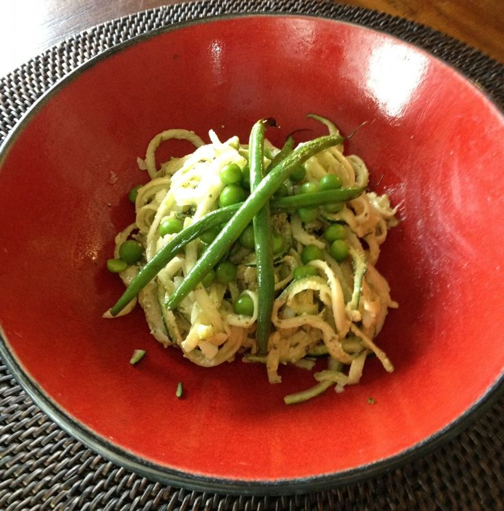 """Simple Basil Pesto with Zucchini """"Noodles"""" - conscious cleanse"""