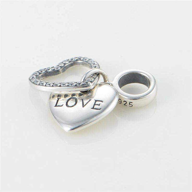 Ciondolo con cuore e scritta LOVE e CZ chiari Argento sterling 925 adatta misure Pandora bead Braccialetto europeo Braccialetto Pandora S175 di OceanBijoux su Etsy