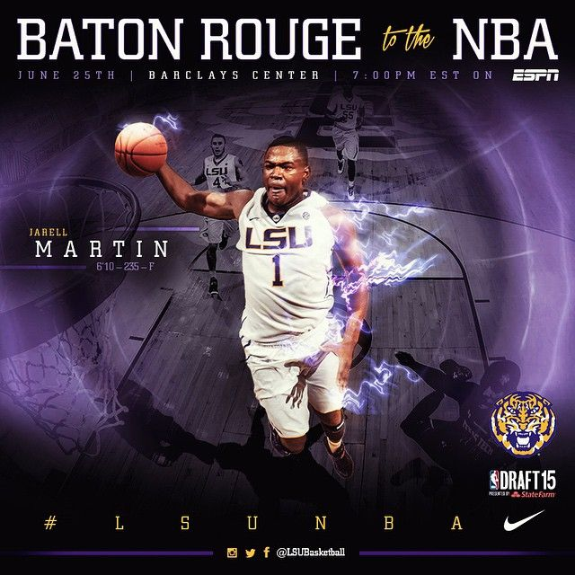 Draft Day! Baton Rouge's own Jarell Martin awaits his selection in tonight's #NBADraft #LSUNBA