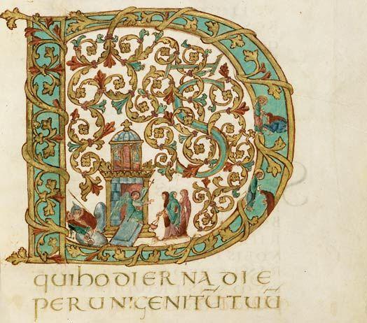 Enluminure issue d'un manuscrit réalisé pour l'évêque Drogon (821-855), fils illégitime de Charlemagne