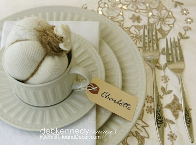 HOMEward Found Decor: vintage white thanksgiving tablescape