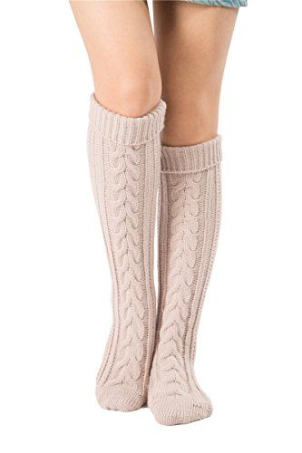 SherryDC Women's Cable Knit Long Boot Socks Over Knee High Winter Leg Warmers  Material: 100% Acrylic  Socks Length:55cm+6cm(fold down), one size fits most women  High elastic ,Multi Colors available,make the socks fashion and cute,Tight rib top not easy to slip down when walking  Super soft and comfortable, wonderful and warm gift for lovers, wife, daughter, girlfriends, female friends  The long boot stocking is a necessary accessory for the Winter/Fall season. Pair them with tights, ...