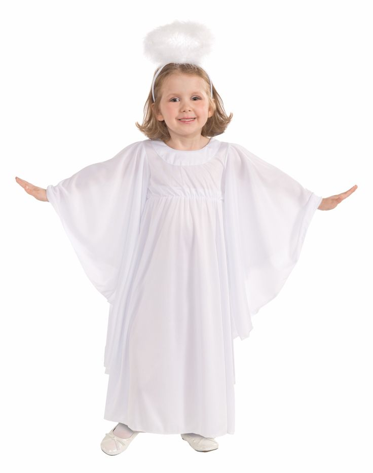 Toddler Angel Costume - This is an adorable little Angel costume. Nothing is more fitting for your heavenly little girl. This is a two-piece costume with a gown and halo. The gown is an elegant dress with long and flowing sleeves. It has a high waist that is gathered with elastic. It also has a hook fastening at the back of the scoop neckline. The halo is an adjustable wire frame with white marabou. It is attached to a headband. #halloween #christmas #angel #kids #children #yyc #calgary…