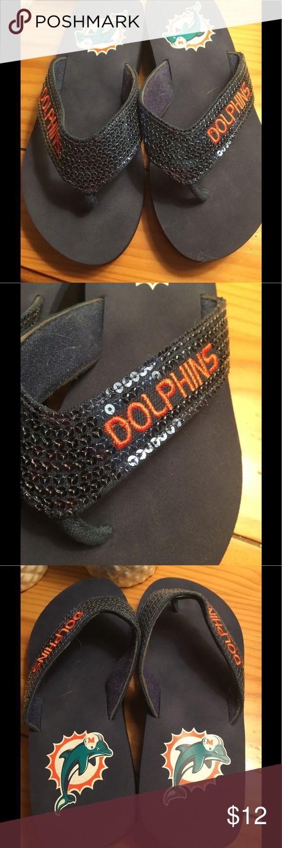 Women's Miami dolphin flips flops size 8 blue Official NFL merchandise  Size 8  In great shape Shoes Sandals