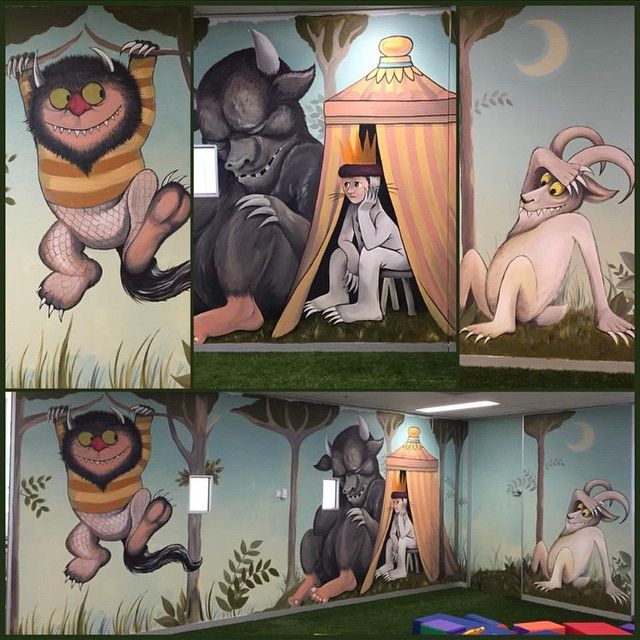 Wall mural painted by Ally Riley and Craig Riley where the wild things are.