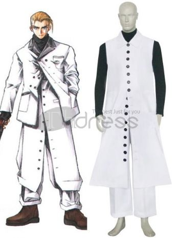 This might be one of the cleanest and most handsome Final Fantasy costumes on the market. It's designed after series character Rufus and features a great black and white color scheme. A black, high collar shirt is the base of the costume. A long, white, sleeveless coat is worn over the shirt and features a long row of buttons down the front, from collar to hem. A pair of wide legged trousers are worn underneath and complete the ensemble.
