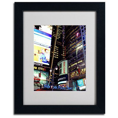 """Trademark Art """"Time Square Lights"""" by Ariane Moshayedi Matted Framed Photographic Print Size: 14"""" H x 11"""" W x 0.5"""" D, Frame: Black"""