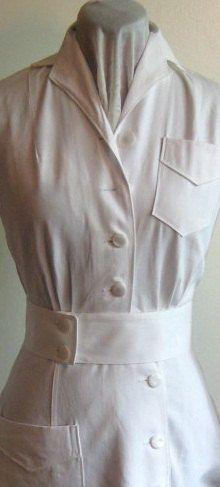 1940s WWII Nurse Dress Uniform; Pure White; Deadstock by Edgertor
