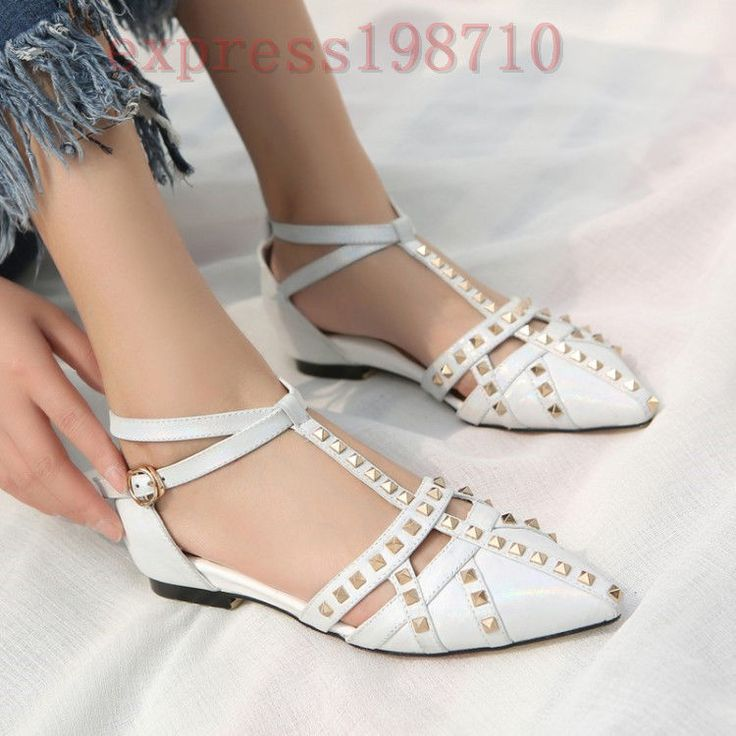 Punk Gothic Women British T-Strap Rivets Pointy Toe Dress Shoes Leather Low Heel