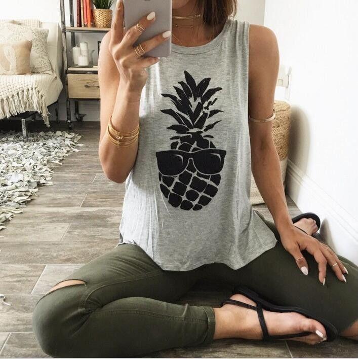 Fashion Print Sleeveless Scoop Neck Casual Shirt Top Tee