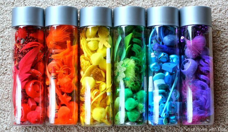 Rainbow Scavenger Hunt and Rainbow Discovery Bottles from Fun at Home with Kids
