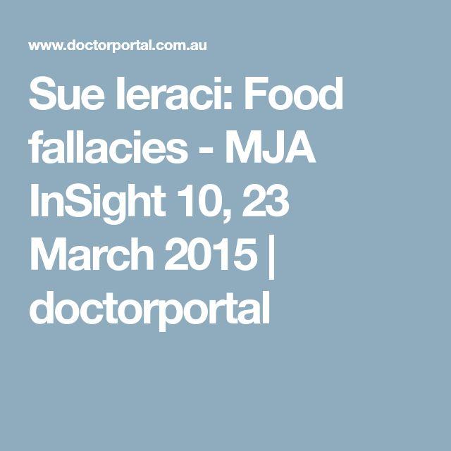 Sue Ieraci: Food fallacies - MJA InSight 10, 23 March 2015 | doctorportal