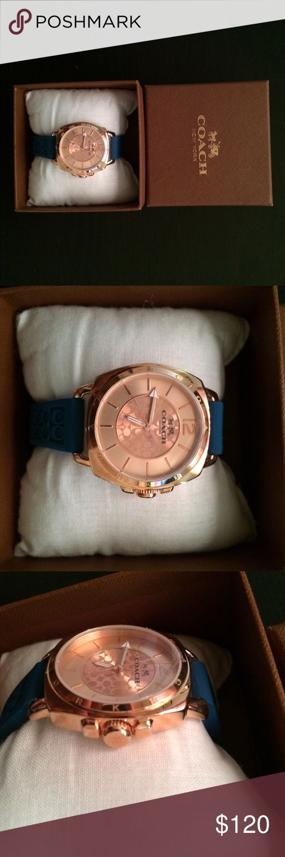 Coach watch Blue silicone bands • gold and rose gold • no shipping until late November-December Coach Accessories Watches
