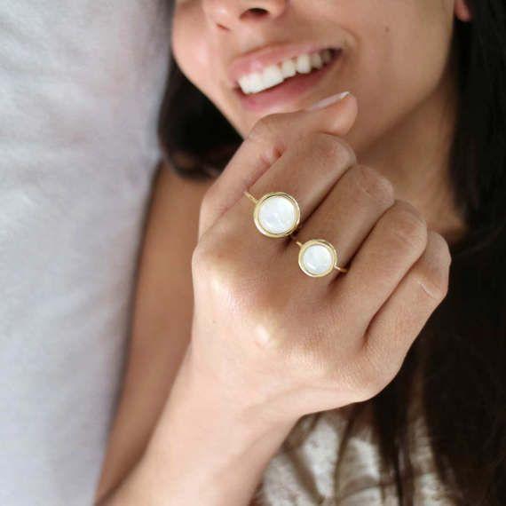 Rainbow Moonstone Statement Ring Yellow Gold 14 karat Ring