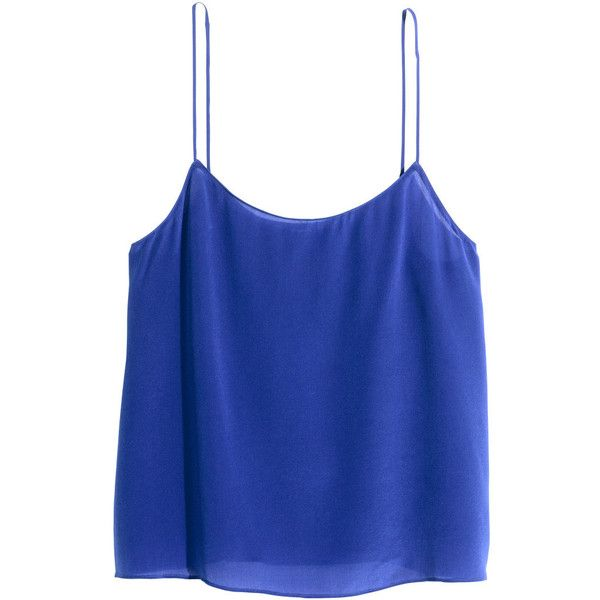 H&M Silk strappy top ($46) ❤ liked on Polyvore featuring tops, shirts, blusas, cornflower blue, loose tops, shirts & tops, loose shirts, blue silk top and strap tops