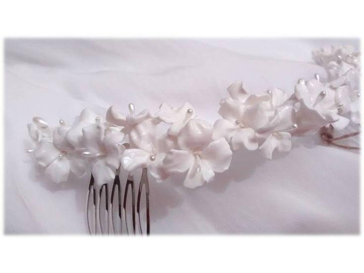 como hacer una peineta de flores porcelana fria - Buscar con Google