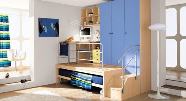 Blue bed lamp room young man teen design shelves window wood image Cabinet
