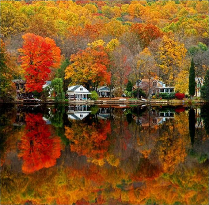 fall scene: Lake Houses, Lakes House, Fall Colors, New England, Autumn Scenery, Beautiful, I Love Fall, Newjersey, New Jersey