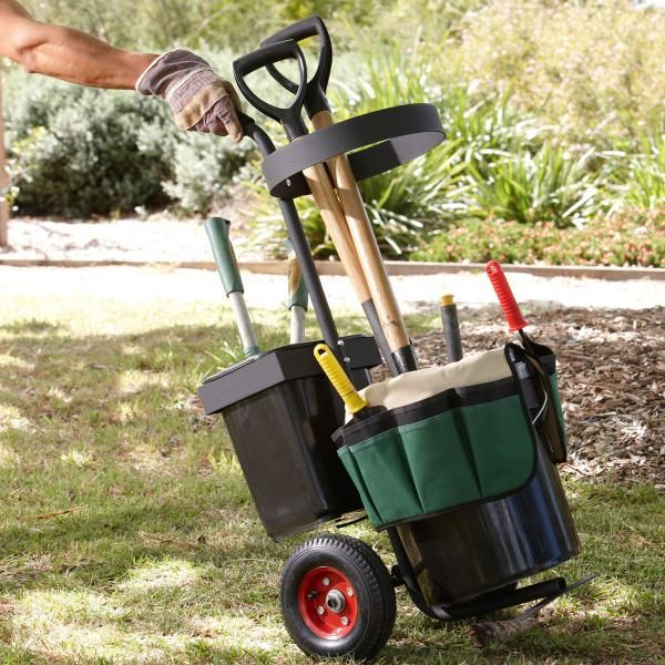 Garden Accessories -- Portable Garden Tool Trolley with Tool Organiser and Buckets.