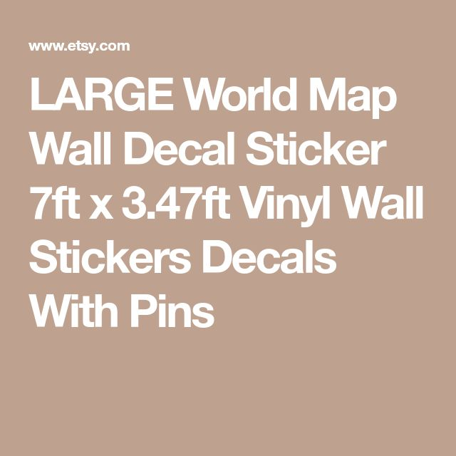 LARGE World Map Wall Decal Sticker 7ft x 3.47ft Vinyl Wall Stickers Decals With Pins