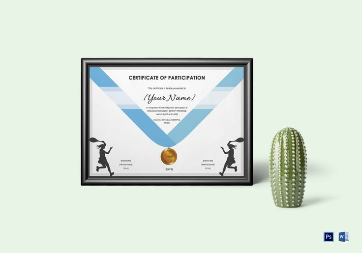 Tennis Certificate Template  $9.99  Formats Included : MS Word, Photoshop  File Size : 11.69x8.26 Inchs #Certificates #Certificatedesigns #Participationcertificates