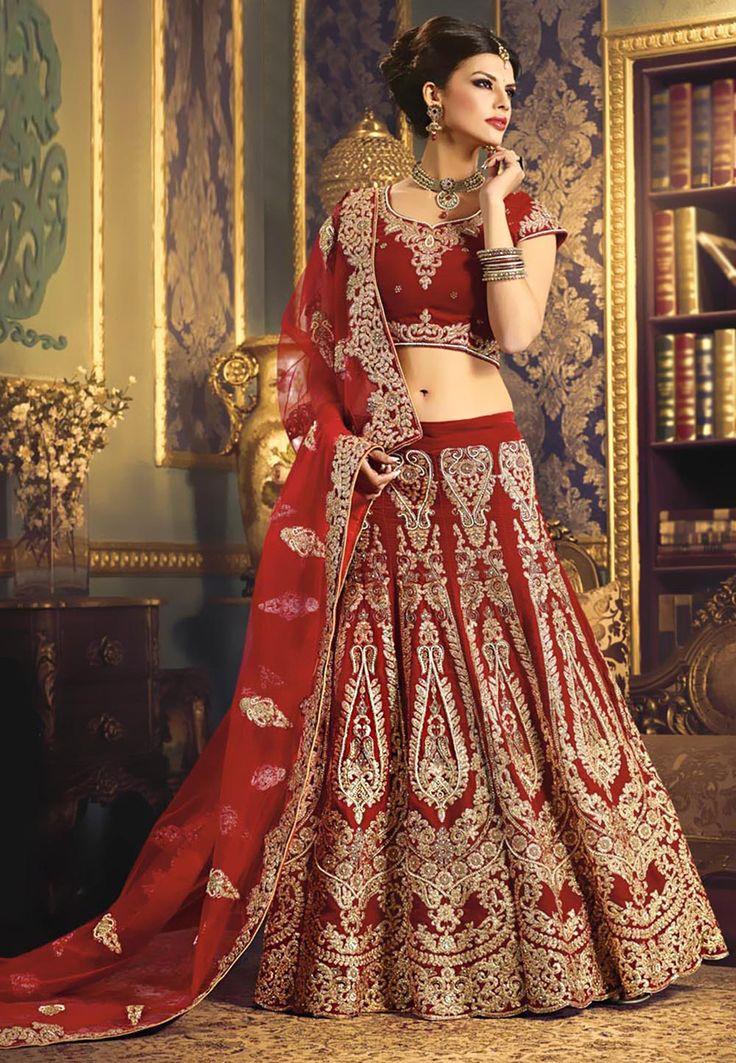 Red Velvet Lehenga Choli with Dupatta: LWK1859
