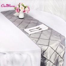 Vierkante Vorm Satijn Tafellopers Luxe Tafellopers voor Bruiloft Kerst Tafel Decoratie Feestartikelen Home Textiel Zilver