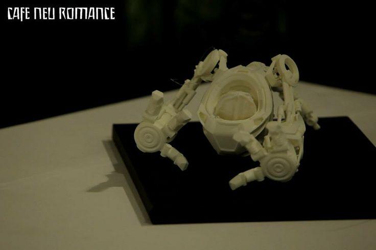3D-printed model of the robot used in the animation Fish Tron by Martin Zadradník (CZE).  Info: a) http://cafe-neu-romance.com/press-media/cnr-2013/cnr-2013-exhibition-martin-zahradník-%28cze%29 b) http://cafe-neu-romance.com/press-media/cnr-2013/cnr-2013-films-av-fish-tron-%28cze%29 c) http://cafe-neu-romance.com/press-media/cnr-2013/cnr-2013-films-av-skoda-e-car-%28cze%29