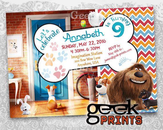 SALE! Pets Movie Theme Birthday Invitation Custom Printable - Inspired by Secret Life of Pets