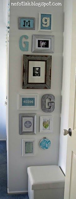 Narrow, rustic gallery wall