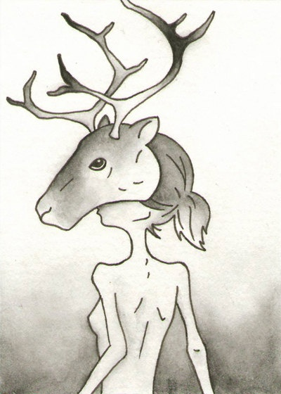 Caribou / Reindeer  ACEO  Miniature Artwork by CuriousLemon, $13.00