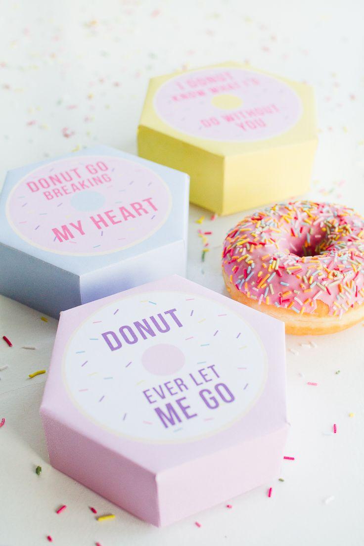 Diy Donut Boxes Valentines Day Puns Doughnuts Case Cute Fun Tutorial Free Printable
