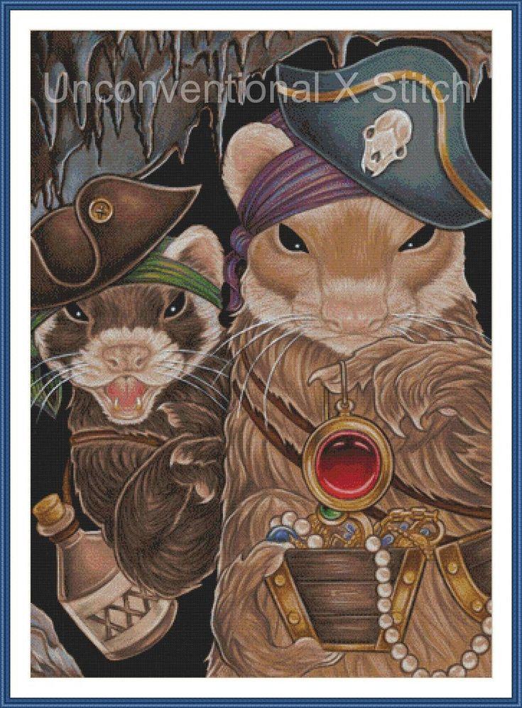 "Pirate Ferrets cross stitch pattern - modern counted cross stitch - Licensed Natalie Ewert - ""Ferret Pirate Treasure"" by UnconventionalX on Etsy"