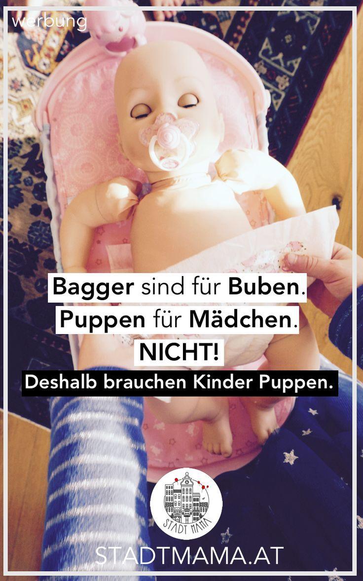 Bagger sind für Buben und Puppen nur für Mädchen? Weshalb alle Kinder gerne mit Puppen spielen sollen dürfen und was sie dabei lernen #spielen #mamablogger_at #mamablogger_de #stadtmama #puppen #babyannabell #spielzeug