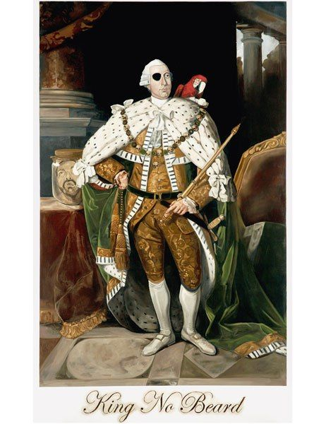 21st-Century Portraits Surveys the World's Most Cutting-Edge Contemporary Artists.KING NO BEARD, DANIEL BOYD, 2007  Boyd turns cultural appropriation on its head by deftly re-creating 18th-century paintings of figures who spearheaded the colonization of Australia. In King No Beard, the artist presents Nathaniel Dance's 1773 portrait of King George III with some small adjustments to the monarch's regal finery.