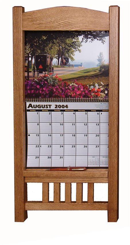 amish oak wood mission calendar frame