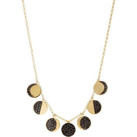 Pamela Love Fine Jewelry Black Diamond & Gold Moon Phase Necklace