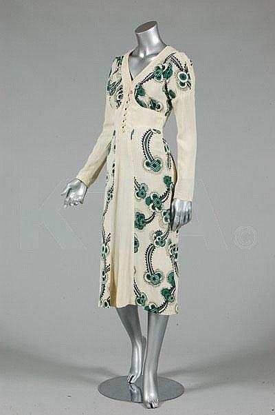 Vintage Ossie Clark/Celia Birtwell `Floating Daisies' printed moss crepe dress, 1970s