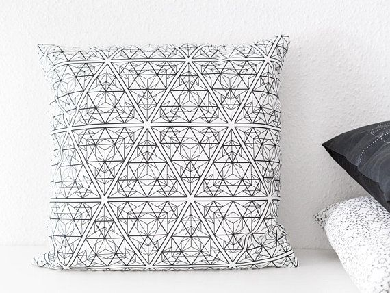 Scandi Cushion Cover With Triangles 20x20 Black And White