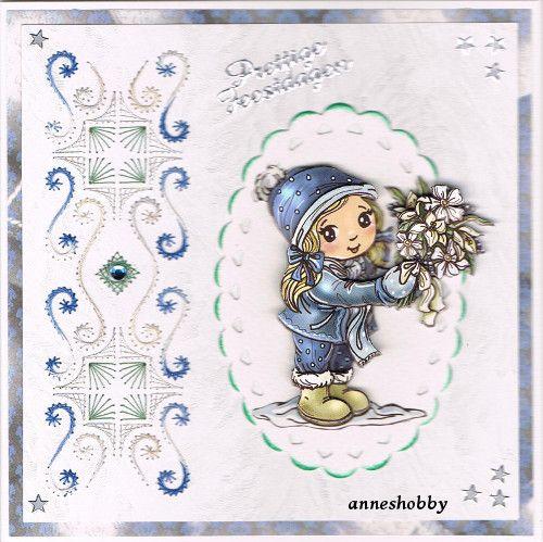 Kerstkaart geborduurd, Sjaak hobbydols 146
