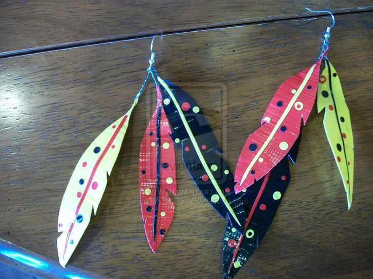 duck tape craft projects   Duct tape feather earrings by *theforestwalker on deviantART